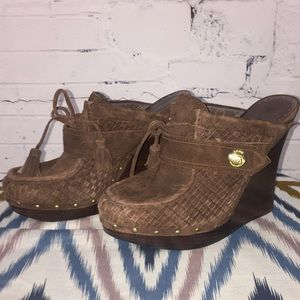 L.A.M.B. Brown Woven Suede Mules
